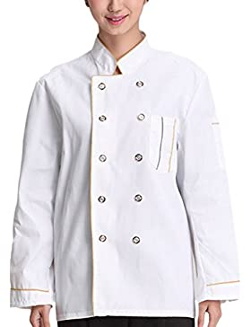 Zhhlinyuan Comfortable Chef's Long Sleeve Jacket Shirt White Work Clothes