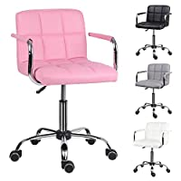 EUCO Desk chair,Office Chair Adjustable Height Comfy Computer Chair Leather Padded Swivel Chair,Home/Office Furniture,Black/Grey/White/Pink