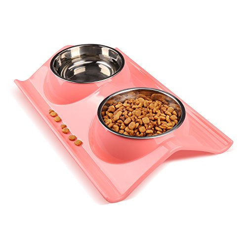 miaosun Double Stainless Steel Dog Cat Bowls with Non-spill Design, for Pet Food and Water Feeder (pink)