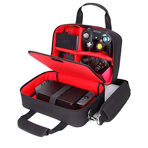 USA Gear Nintendo Switch Case Tasche - Custom Staufächer Kompatibel mit Dock, Joy Con Controller, Pro Controller, Ladegriff, Spiele - mit Tragegurt und Gepolstertem Innenfutter - Rot