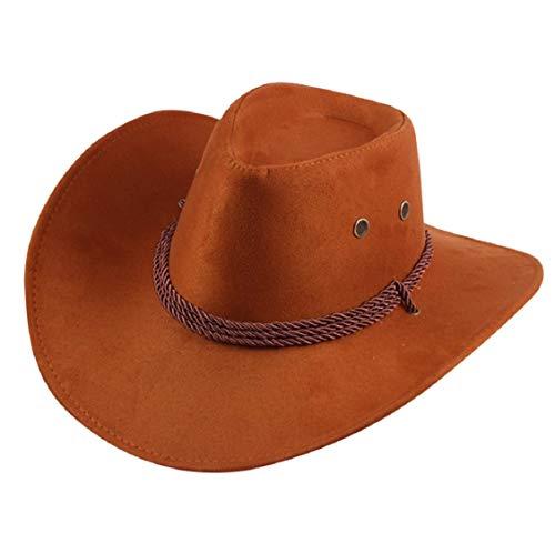 Cowboy Jungen Brown Kostüm - Koojawind Unisex MäNner/Frauen Western Cowboy Bucket Brim Cap Sonnencreme Ritter Denim Hut Western Cowboy Hut Lady Jazz Cowgirl Wide Brim Herren Cowboy Hut