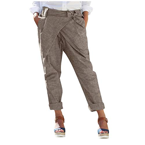 WOZOW Haremshose Pumphose Hosen Damen Übergröße Capri Bettwäsche Baumwolle Cross Front Riemchen Bowknot Loose Lose Lang Long High Waist Aladdin Indian Hippie Baggy Trousers Stoffhose (M,Khaki) Cord-bell-bottom-jeans
