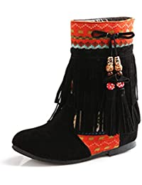 b8196bd623ca Minetom Femme Hiver Cuir Nubuck Tassel Neige Cheville Flat Bottines Perlé  Chaussures Mode Bout Rond