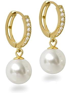 Perlen Ohrringe golden aus 925 Silber vergoldet Creolen mit glitzernden Zirkonia und 10mm Perle rund weiß