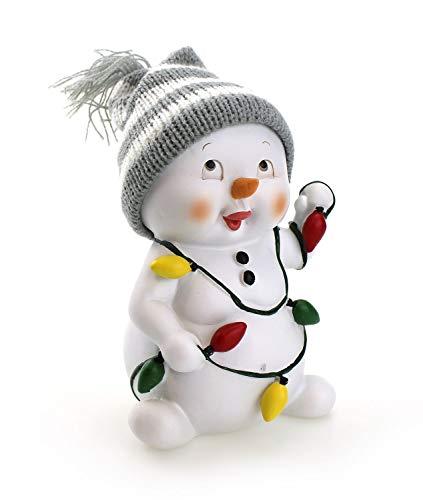 TEMPELWELT Deko Figur Schneemann 15 cm, Polystein Wintermütze Wolle weiß grau, lustige Dekofigur Winter Weihnachten...