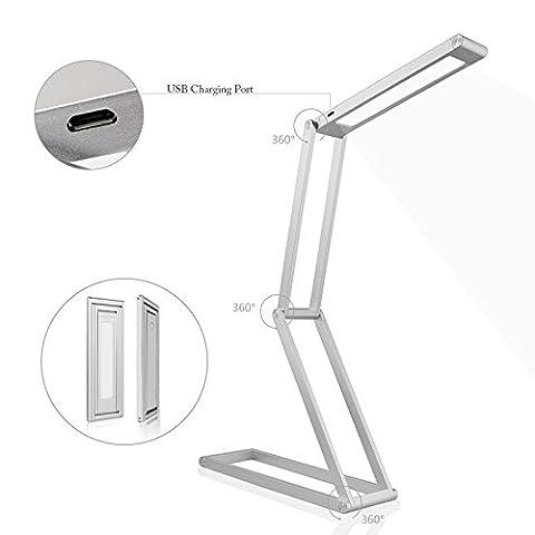 NANAMI Lampe de Bureau Pliable et Modulable, LED Lumière de table Flexible Portable Ajustable Rechargeable pour Étudier, Lire, Travailler Argent