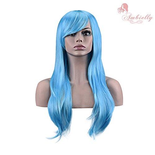 70cm perruque Long bouclés ondulés perruque cosplay costume Cheveux Femme lampées cosplay perruque pour nos perruques de costume (Bleu clair)