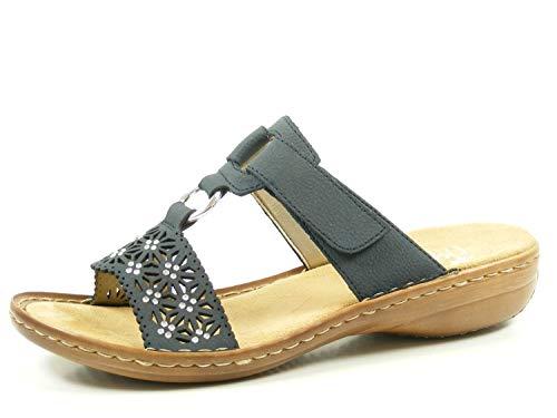 Rieker Damen Pantoletten Blau, Schuhgröße:EUR 40