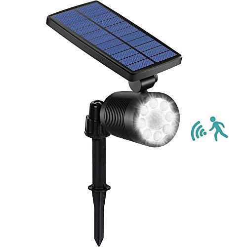 Ubitree Luci Solari esterno 8 LEDs Luce Solare del Giardino con Sensore di Movimento Impermeabile 4 Modalità Lampade Solari di Sicurezza Esterni per Giardino, Patio, Ponte, Vialetto, Terrazzino, Cas