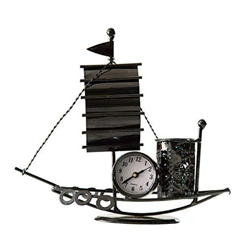 JHEY Kreatives Schmiedeeisen-Handwerk, segelndes Uhr-Stift-Halter-Büro-Tischplatten-einfache dekorative Verzierungen - Uhr Halter Stift