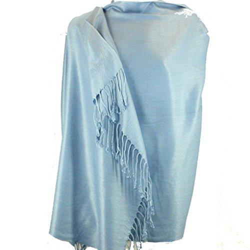 Nepal Massiv Zwei Lagen warme weiche Pashmina Schal-Schal-Verpackung von Silber Fever® Marke Light Blue