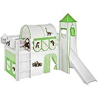 Preisvergleich für Lilokids Spielbett Jelle mit Turm, Rutsche und Vorhang Kinderbett, Holz, Weiß, 198 x 98 x 113 cm