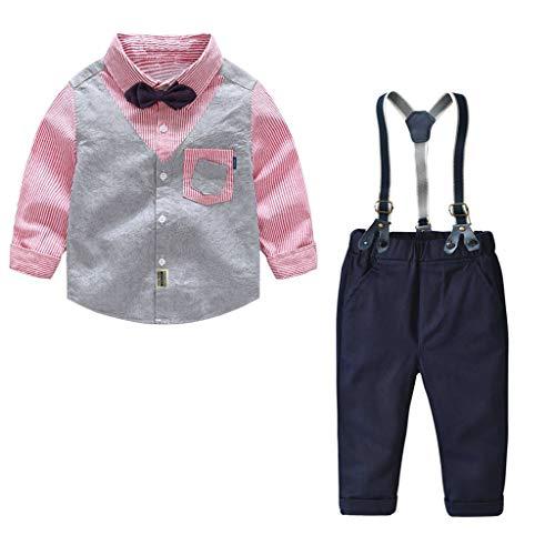 ALISIAM Winter Weihnachten Kind Junge schön Mode Gemütlich Gentleman Gitter spleißen Lange Ärmel Shirt und Lätzchen Passen Party KleidKinderkleidung