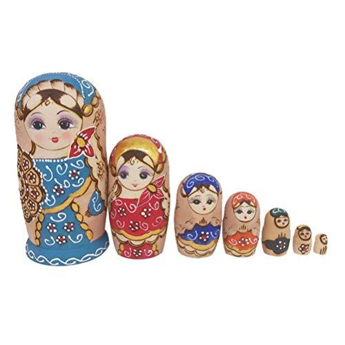 Kostüm Russische Matroschka - JJSFJH Matroschka Nettes Mädchen aus Holz russische Nesting Dolls Floral Stapeln Toy Doll 7St