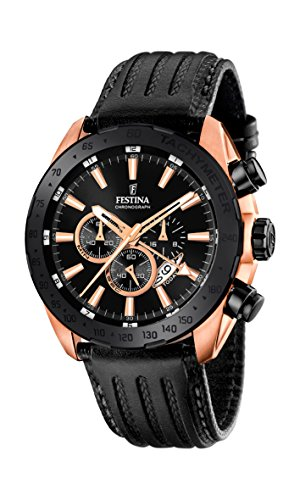 Festina Men's Quartz Watch with Black Dial Chronograph Display and Black Leather Strap F16900/1