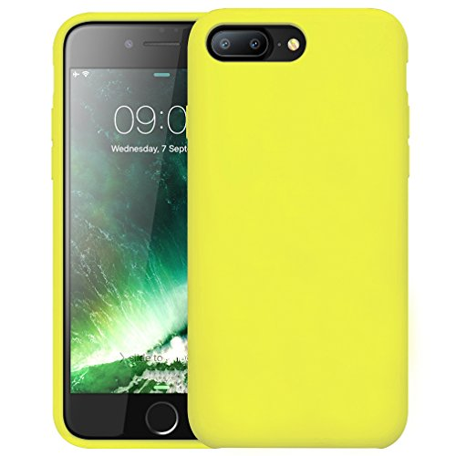 FIRST2SAVVV Nero iPhone 7 plus 5.5 Shock Assorbente Custodia, Apple iPhone 7 plus Case Custodia Shock-Absorption Bumper Cover e Anti-Graffio - XJPJ-I7-5.5-C01 giallo silicio custodia