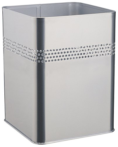 Durable 332023 Papierkorb Metall eckig 18,5 Liter, Perforation 30 mm, silber