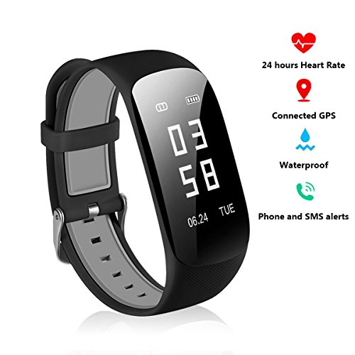 Fitness Armbanduhr Tracker - Wasserdicht Smart Bracelet mit Herzfrequenz Pulsmesser Activity Tracker GPS Schrittzähler Schlaftracker Kalorienzähler Stoppuhr Armband Uhren für Android und IOS