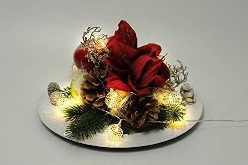 Arnusa Weihnachtsgesteck handgefertig mit Lichterkette, hochwertigen Kunstblumen