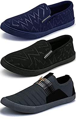 Ethics Men's Combo Pack of 3 Navy Blue, Black & Grey Casual Loafers Shoes for Men's (7)