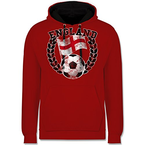 Fußball-WM 2018 - Russland - England Flagge & Fußball Vintage - Kontrast Hoodie Rot/Schwarz