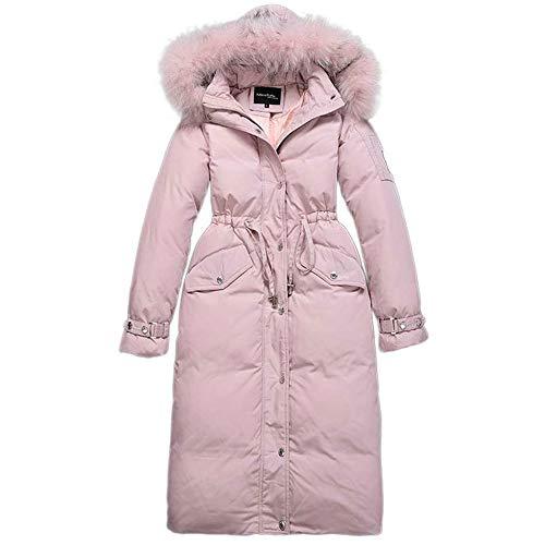 Loozo Winter Damen Mode Casual Lange Schlanke Pelzkragen Mit 90% Entendaunen Jacke Kapuze Pink L