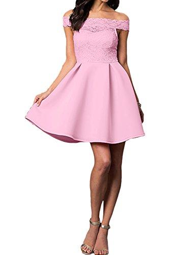 Ivydressing Damen Kurz A-Linie Abendkleider U-Ausschnitt Spitze Ballkleid Partykleider Dunkelrosa