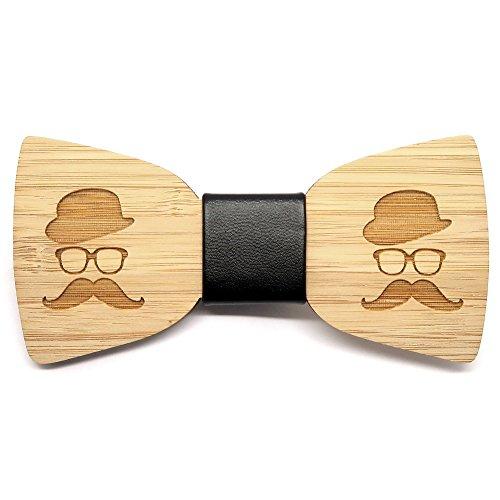 BOBIJOO Jewelry - Noeud Papillon Tendance Bois Bambou Homme Gentleman Moustache Fait Main Cuir
