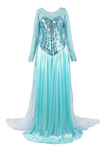 ReliBeauty Damen Elsa Prinzessin Kleid Bodenlang Rundausschnitt Pailletten Fasching Cosplay Kostüm, Hellblau, 44-46