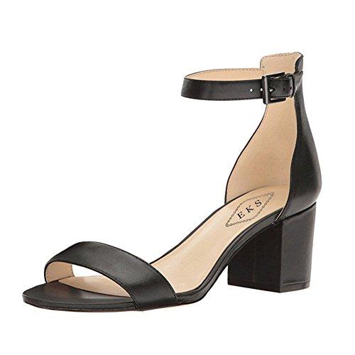 EKS Damen Offene Spitze Chunky Heels Ankle Strap Schnalle Kleid Partei Sandale Schuhe Schwarzer Matt EU - Damen Toe Schwarz Kleid Open Schuhe