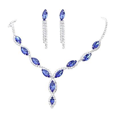 YAZILIND Women Wedding Jewellery Deep Blue Crystal Rhinestone Droplets Necklace Earrings Party Set from YAZILIND JEWELRY LIMITED