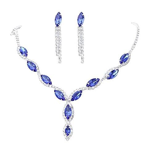 YAZILIND Women Wedding Jewellery Deep Blue Crystal Rhinestone Droplets Necklace Earrings Party Set
