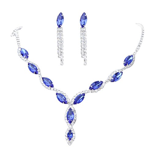 YAZILIND Women Wedding Jewellery Deep Blue Crystal Rhinestone Droplets Necklace Earrings Party Set