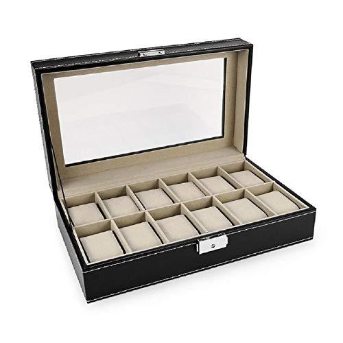 Hoveey Caja de Relojes Estuche para Relojes y joyeros con 12 Compartimentos