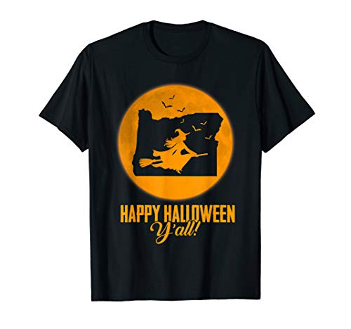 Happy Halloween Y'all Oregon Witch Map T-shirt (Halloween, All Y Happy)