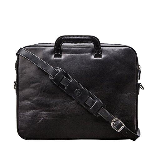 Maxwell Scott Bags® Luxus Aktenmappe aus italienischem Leder in Cognac Braun (Tutti) Schwarz