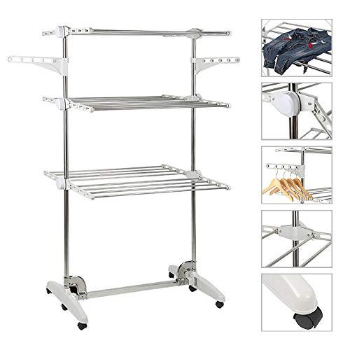 Seche linge pliable,extra large 3 tier, rail de séchage pour vêtements, acier inoxydable, pour un rangement facile