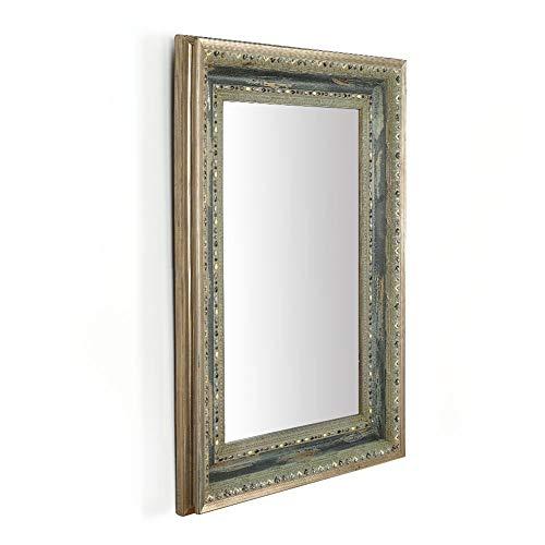 Espejo de Pared Rectangular de baño Vintage de Madera Maciza Enmarcado con Diamantes de Cristal Mosaico...