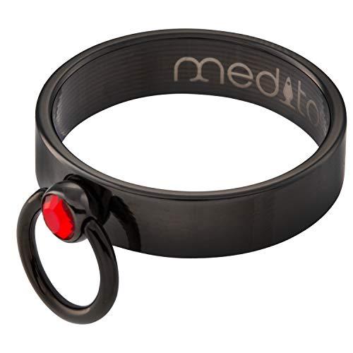"""meditoys® - 'Ring der O' - PVD Black mit Original Swarovski CRYSTAL""""light siam"""""""