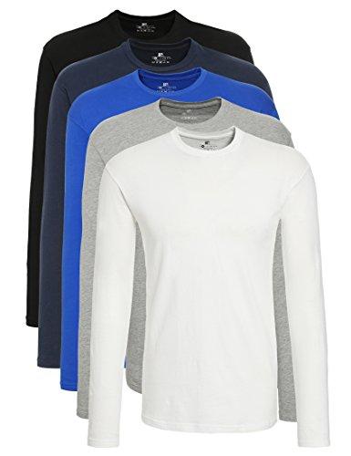 Lower east t-shirt a maniche lunghe uomo, pacco da 5, nero/bianco/blu/azzuro, l