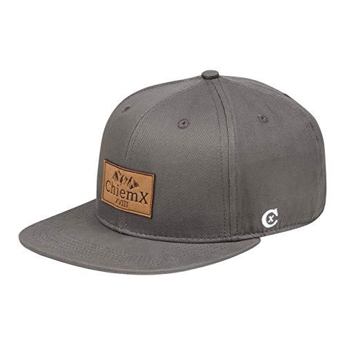 ChiemX Snapback Cap - Grau/Hellgrau - aus Baumwolle und mit Kunstlederpatch - One Size Kappe für Herren und Damen