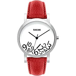 Rakani What Time? 40mm Black on White Watch with Red Leather Band