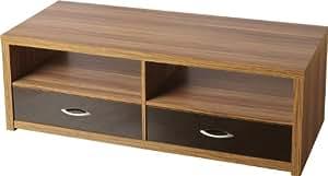 TV Stand 2 Drawer Cabinet Shelves Walnut & Black Hollywood *Brand New*