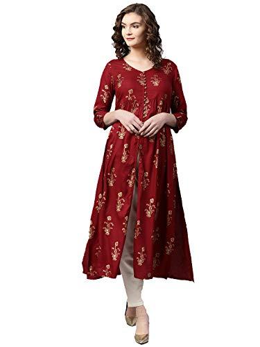 Dream Angel Fashion Damen Kurta mit Hose, A-Linie, Kastanienbraun/goldfarben Gr. 62 DE M, Maroon & Golden Salwar Hose