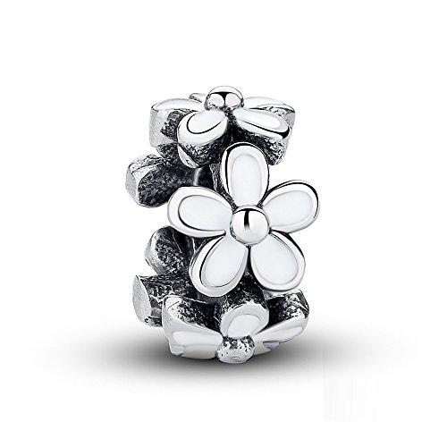 950af8f61 Darling Daisies, White Enamel Charm 925 Sterling Silver Bead Charms Fits  Pandora, European Bracelets