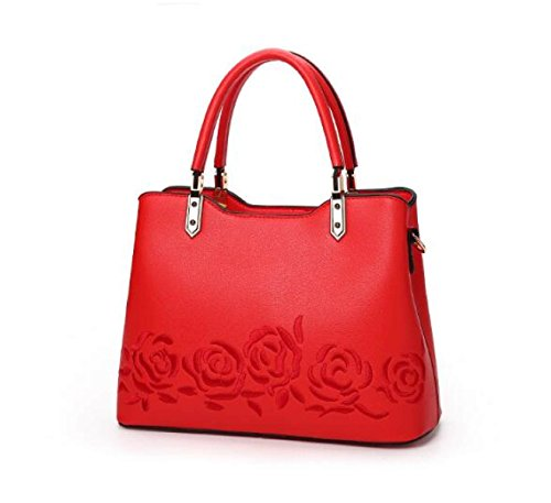 Dame Fashion Umhängetasche Handtasche Messenger Bag Rose Stickerei Temperament Weibliche Tasche A