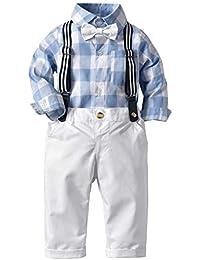 382cf1415c6f1 ZOEREA 2 Piezas Bebé Niño Ropa Conjuntos Body Camisas a Cuadros Manga Larga  + Pantalones Infantil Niños Trajes Conjunto de Fiesta Boda…