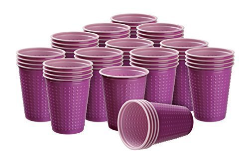 40 Stück Trinkbecher Plastikbecher 200 ml verschiedene Becher Farben wählbar W5(Bicolar pink-rosa)