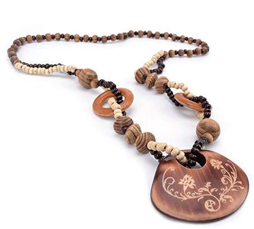 Mode Frauen Holz Perlen Kette geschnitzten Anhänger böhmischen Retro Halskette lange Pullover Kleidung Zubehör-Shell - Holz Geschnitzt Shell