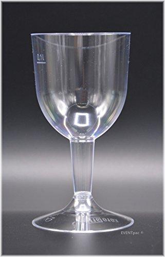 100 verres à vin 0,1 l – Finition/Transparent en deux parties avec trait de repère jetables en plastique Verres à vin Verre à vin Verres/de eventpac®